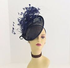 Kentucky Derby Wedding Tea Party Sinamay feather Fascinator Cocktail 617(Navy )
