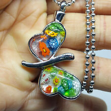 """""""Glass Butterfly"""" Cremation Necklace for ashes Stainless Steel Pendant Jewelry"""