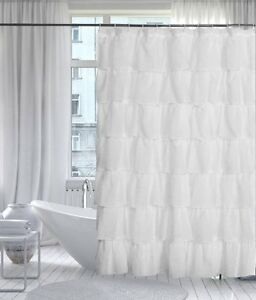 """Gypsy Shabby Chic Ruffled Shower Curtain, 70"""" wide by 72"""" long, White, Lorraine"""
