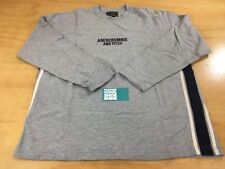 Abercrombie & Fitch Classic Embroidered Logo Long Sleeve Shirt M Grey Navy White