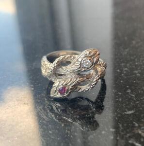14k White Gold Men's Diamond/Ruby Hand Carved Double Snake Ring - SIZE 9
