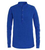 Camicia Uomo Puro Lino Collo Coreano Tinta Unita Blu Royal Manica Lunga GIOSAL