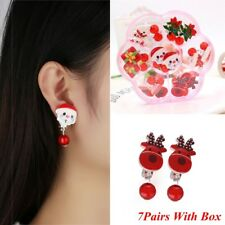 7Pairs Santa Claus Hats Snowman Snowflake No piercing-Ear Clip Xmas Jewelry ~~