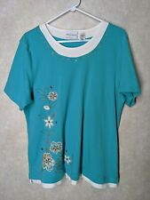 Alfred Dunner L green not blue Embroidered Beaded cotton polyester shirt blouse