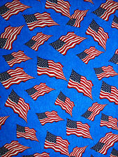 Patriotic Waving Flags on Blue Background - 100% Cotton Fabric BTY