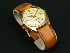 9ct Gold LONGINES L633.1 Conquest Automatic Wristwatch Date Vintage Men 1974