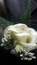 NEW! Pale Green Rose Heather & Fern Wedding Buttonhole with Ivory Satin Ribbon