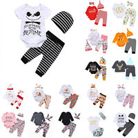 Newborn Toddler Baby Boy Girl Romper Bodysuit Jumpsuit Pants Outfits Clothes Set