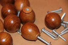 10 x 26mm diameter  RUSTIC OAK draw door cabinet knobs OVAL SHAPE with screws