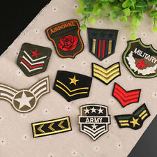 11Pcs Iron Sew on Patch Military Army Soldier Rank Insignia Embroidered Badges