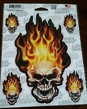 LETHAL THREAT DESIGNS HEAD ON FLAME SKULL SET VALUE PACK 9 DECAL LT44014 (X8568)