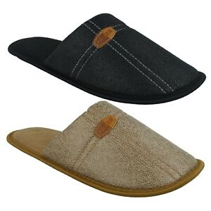 X2R117 SPOT ON MENS WINTER SLIP ON INDOOR LOUNGE HOUSE SLIPPERS MULES