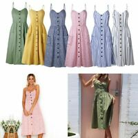 Women Ladies Summer Sundress Long Maxi Dress Boho Holiday Beach Party Cocktail