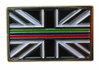 Triple Thin Blue Green Red Line Emergency Service Union Jack Metal Tie Pin Badge