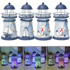 Nautical Decor Shabby Metal Lighthouse Shell Colorful LED Light Home Party