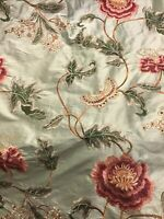 Colefax & Fowler Design Oriental Poppy Embroidered On Silk Fabric. 3 Yards