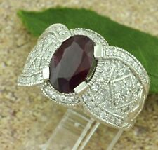 4.41 ct 14k Solid White Gold Ladies Natural Diamond & Oval Ruby Ring Cocktail