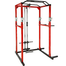 Kraftstation Fitnessstation Power Rack Power Cage Klimm Latzug Dip rot-schwarz