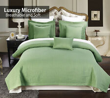 Wrinkle Free Microfiber Quilt- 3PC Luxury Checkered Reversible Coverlet Set