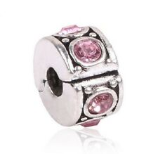 SILVER PINK CRYSTAL CLIP STOPPER CHARM BEAD FOR BRACELET OR NECKLACE