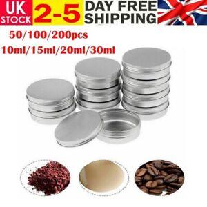 50/100/200pcs Portable Mini Aluminium Screw Tin Balm Pots Cosmetic Cream Jar UK