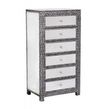 BLACK SILVER EMBOSSED MIRRORED GLASS TALL BOY CHEST DRAWERS (T4305) BALI