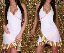 Sexy Miss Femme Latina Été Salsa Volant V Mini Robe 34/36/38 or Blanc