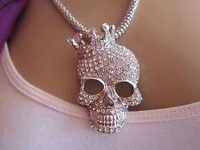 Bettelkette Hals Kette Lang Strass Totenkopf Skull Mit Krone Silber Bling BR037