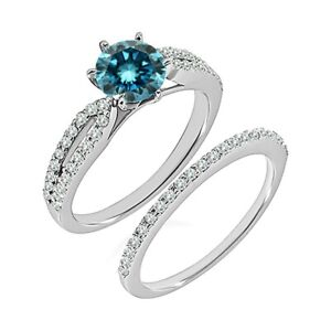 1 Carat Real Blue Diamond Crossover Solitaire Ring Band Set 14K White Gold