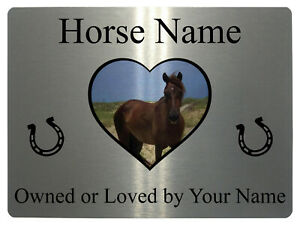 016 Personalised Horse Name Photo Metal Aluminium Plaque Sign For Stable Door