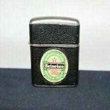 Vintage Revolt Heineken Windproof Lighter Black Leatherette Cover
