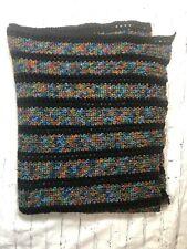 "62"" x 40"" Black Multi-Color Throw/Blanket/Afghan Hand Made"