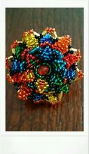 HUICHOL 3D HUGE FLOWER MULTICOLORED CHAQUIRA RING ONE SIZE