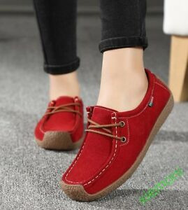 19 Grace Womens Girls Slip On Casual Shoes Loafers Lace Up Flat Suede Six Colors