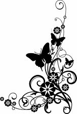 Butterflies and Flowers swirly bottom right corner  Elegant Wall vinyl decal