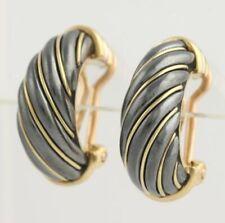 Cartier Half Hoop Rope Earrings - 18k Yellow Gold & 800 Silver Clip-On Designer