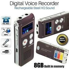 More details for rechargeable 8gb digital audio/sound/voice recorder dictaphone mp3 player