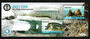 2008 Intl Polar year Bird Seal Antarctic lichen iceberg URUGUAY #2243 MNH S/S