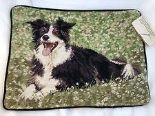 """Australian Shepherd in Pasture Needlepoint 15"""" x 11� Velveteen Back w/ Zipper"""