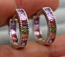 18K White Gold Filled - Square Amethyst Ruby Emerald Topaz Wedding Hoop Earrings