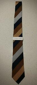 NEW Calvin Klein Brown Blue Silver Striped Silk Tie Business Formal $69.95