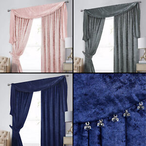 Crushed Velvet Pencil Pleat Curtains - Optional Beaded Accessories Available