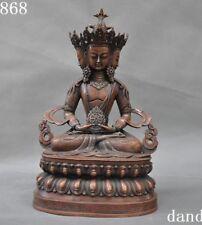 Old Chinese purple bronze Sit 4 heads Lotus Kwan-Yin Guanyin Tara Buddha statue