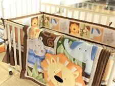 4pcs Africa Lion Cotton Baby Crib Cot Quilt Bumper Sheet Dust Ruffle Bedding Set