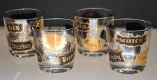 VINTAGE BLACK & GOLD GILT LIQUOR NAMES WHISKEY / ROCKS GLASSES (SET OF 4)