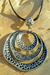 3 Ring Textured Hammered Silver Effect Statement Pendant & Waxed Knotted Cord