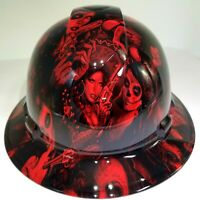 FULL BRIM Hard Hat custom hydro dipped, NEW CANDY  RADIOACTIVE RED BANDITO GIRLS