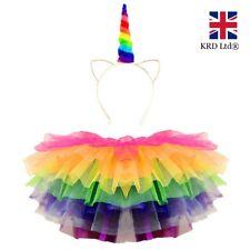 RAINBOW UNICORN TUTU COSTUME Kids Girls Halloween Pony Dash Fancy Dress Skirt UK