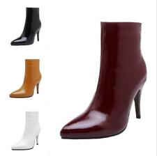 Women's High Heel Pointed Ankle Boots Stilettos Heel Patent Leather US Size 4-13