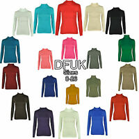 WOMENS PLAIN TURTLE POLO ROLL NECK LONG SLEEVE TOP CASUAL JUMPER SIZE 8-26